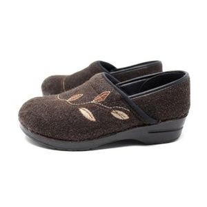 Dansko Brown Felted Wood Leaf Clogs - Size US 11